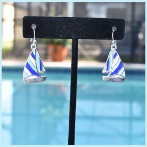 Sweet Sailboat Enamel Earrings